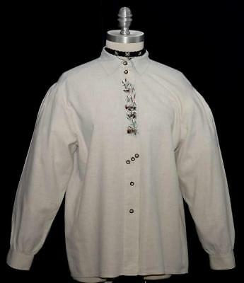 """BEIGE German COTTON Women Embroidered DUCKS Hunting Long Sleeve BLOUSE/B43""""/16 L"""
