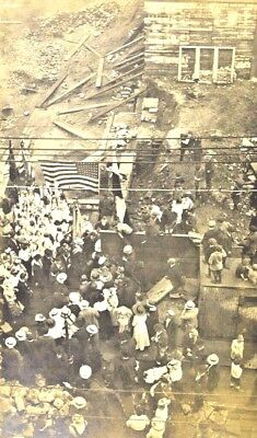 RPPC Early 1900's Arial View Political Rally Camp POSTCARD 48 Star Flag  USA