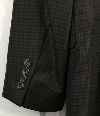 Jos A Bank Signature Collection Silk Wool Brown Navy Gray Checked Men's Size 42S