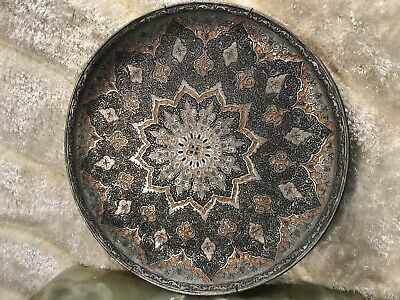 ANTIQUE 15.5 X15.5 Inch ISLAMIC ARABIC METAL COPPER BRASS MIDDLE EASTERN TRAY