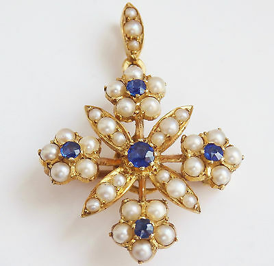 Antique Victorian 9ct Gold Sapphire & Pearl Flower Motif Pendant Brooch c1900