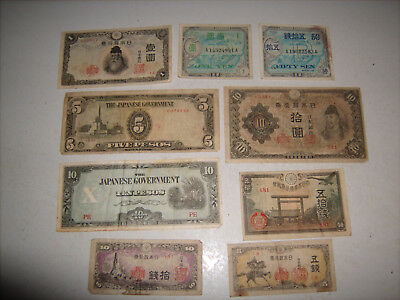 Antique Lot of 9 Japan Allied Military Currency 20 Yen Vintage Japanese