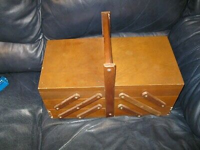 Vintage Accordion Wood Sewing Box with Legs