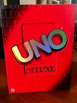 UNO Deluxe Box Card Game - UNO with Card Tray, Score Pad, Pencil and Card Box!