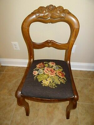ANTIQUE FURNITURE CHAIR AND FOOTSTOOL WITH NEEDLEPOINT SEATS, EARLY 1900's Sale