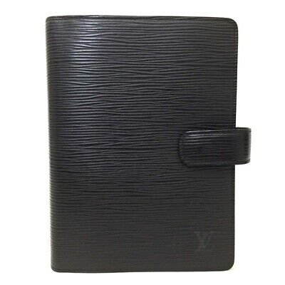 33e8bba4b3d Authentic Louis Vuitton Epi Agenda MM Black Leather Notebook Cover  ee133