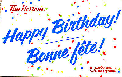 2017 Tim Hortons Gift Card Happy Birthday Bonne Fete No Value rechargeable