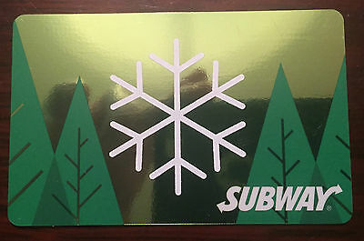 """Subway Canada 2016 Gift Card """"green Forest Snowflake"""" Holiday No Value New!!!!!!"""