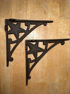 2 Western Star shelf brackets corbel cast iron rustic decor Antique Look bracket