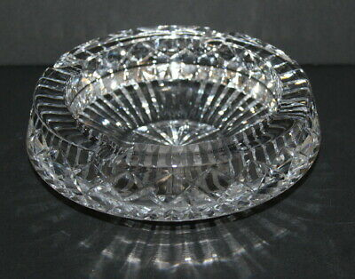 "Vintage Art Deco Cut Glass Crystal Ashtray ~ 8"" ~ Beautiful !!!!"