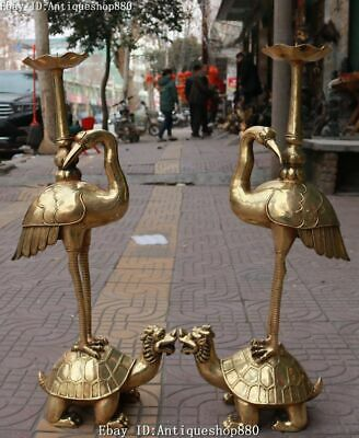 "30"" Bronze Red-crowned crane Bird Dragon Turtle Candle Holder Candlestick Pair"