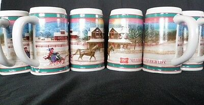 6 1985 Vintage High Life Holiday Beer Best Traditions Collectible Stein Mug