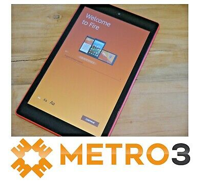 Amazon Kindle Fire HD8 7TH GEN Tablet Wi-Fi eReader ALEXA 32GB AS NEW PUNCH RED