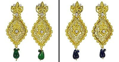 Ethnic Gold Tone Cz Stone Indian Traditional Dangle Earring