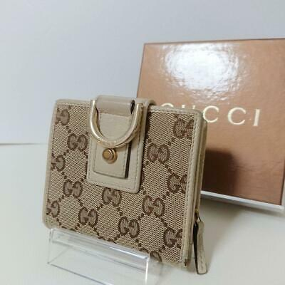 1c707bb3e29 Gucci Wallet GG Canvas Bifold Ivory Leather Logo Authentic Gold Metal Box  fine
