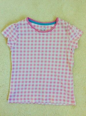 Girls Pink and White Checked Short Sleeve Top Age 4-5 Years from TU