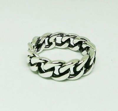 925 Sterling Silver Chain Curb Cuban Link Byzantine Ring 7 mm Variety Size