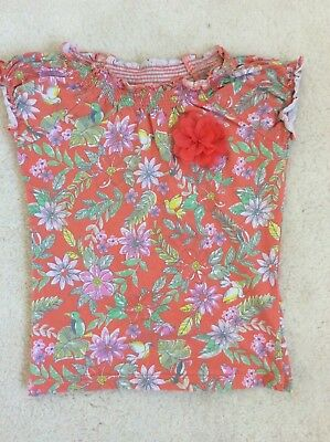 Girls Orange Mix Floral with 3D Flower Short Sleeve Top Age 3-4 Years from TU