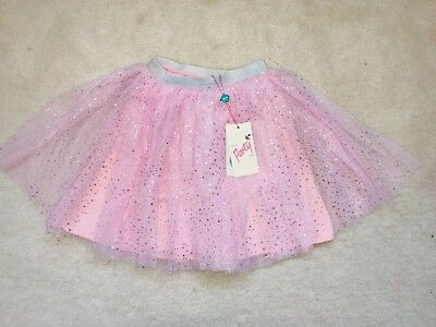 BNWT Girls Pink Silver Sparkle Tulle Pull Up Party Skirt Age 3-4 Years from Yumi