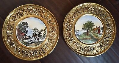 Pair Of Vintage English Porcelain Tiles Charger Plates Repousse Brass Framed