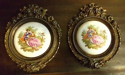 Pair Of Vintage Ormolu Brass Frames Porcelain Victorian Lovers Wall Plaques