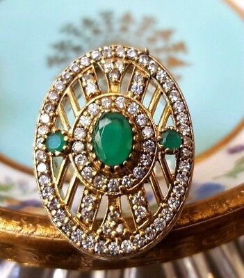 Vintage Emerald & Cubic Zirconia Ring 925 Sterling Silver Plated Size 9