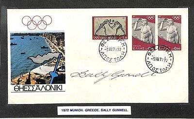 HH126 1972 Munich Olympics Greece Greece Signed Cover *Sally Gunnell*  PTS