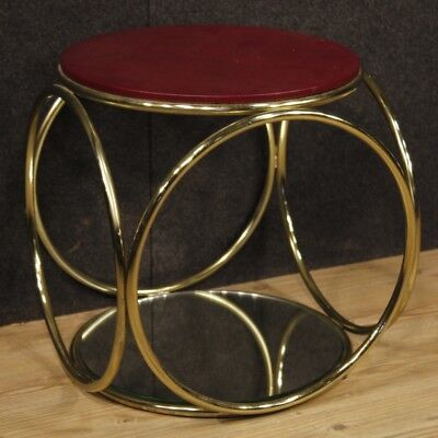 Petite Table Italien Design Meuble Table Basse Salon Miroir Cuir D'Or