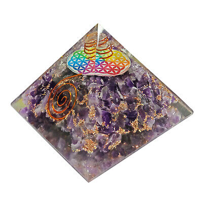 Extra Large 65-70mm Amethyst Stone Flower of Life Orgone Pyramid Generator