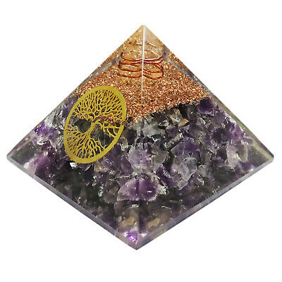 Extra Large 65-70mm Amethyst Stone Orgone Pyramid EMF Protection Healing Energy