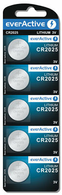 5 Pile Batterie EVERACTIVE CR2025 280-205 L12 SB-T14 LF-1/2V 5003L Lithium Litio