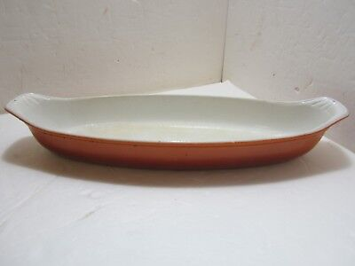 """Made In Holland No. 36 Large Au Gratin Oval Casserole Cast Iron Enamel Flame 16"""""""