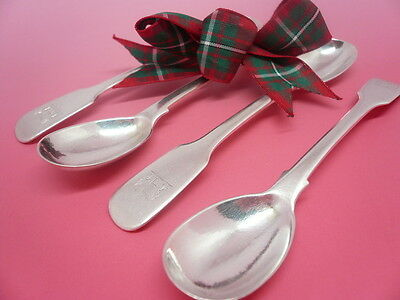 Silver Mustard Spoons, Sterling, Antique, English, Set of 4, Hallmarked 1824