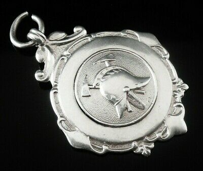 Silver Pocket Watch Fob Medal, FATTORINI 1930, Fire Brigade Fire Fighting?