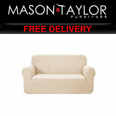 MT High Stretch Sofa Cover Couch Protector 2Seater Sand SCOVER-MERBAU-2-SD AU