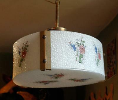 FRENCH Vintage 1950 Kitsch Floral Glass Ceiling Light Mid Century Shade Lamp