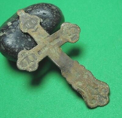 Ancient Bronze Cross Wearable Pendant Antique Rare C113
