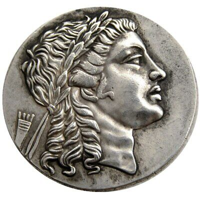 Rare Large Medallic Ancient Greek Silver Tetradrachm Coin from Myrina Aeolis