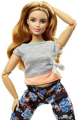 Barbie Fashionista Made to Move, Doll Articulated Curvy Ginger with Top Grey