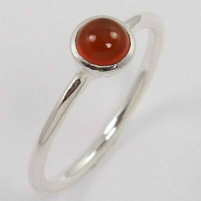 925 Sterling Silver Small & Tiny Ring Size US 6.75 Natural CARNELIAN Round Gems