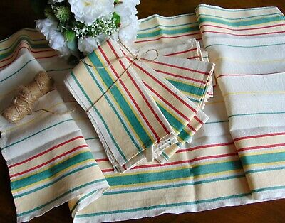 VINTAGE GERMANY 70's QUALITY LINEN CREAM/GREEN/RED/WHITE KITCHEN TOWEL 92.5x47cm