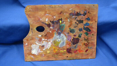 Vintage Wood Artist Paint Palette & Wood Box