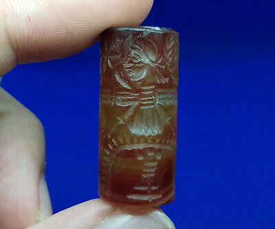 Beautiful Near Eastern Agate Intaglio Ritual Rolling Seal Stamp Tube Bead BCD24