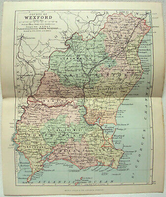 Original 1882 Map of The County of Wexford, Ireland by George Philip. Antique