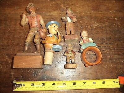 All 4 Antique Primitive Folk art carved Wooden statues Napkin holder W/ANRI