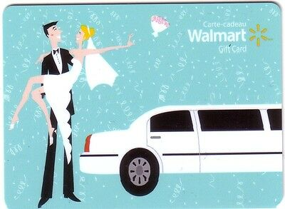 Walmart Wedding COLLECTIBLE Gift Card limousine Bilingual RECHARGEABLE No Value