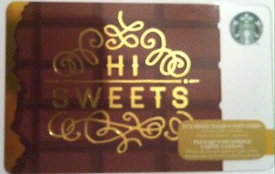 """STARBUCKS Limited Edition Holiday Gift Card """"HI SWEETS"""" 2016 New No Value"""