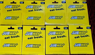 Subway Sandwich Shops Restaurant Gift Cards Lot of 8 RECHARGEABLE