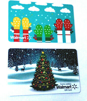 2x WALMART GLOVES & CHRISTMAS TREE COLLECTIBLE GIFT CARD LOT