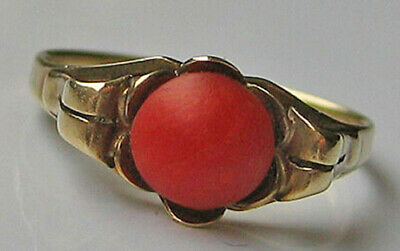 Lovely 🎁 Antik Ring in aus 333 8 kt. Gold mit Koralle with Coral Antique v 1920